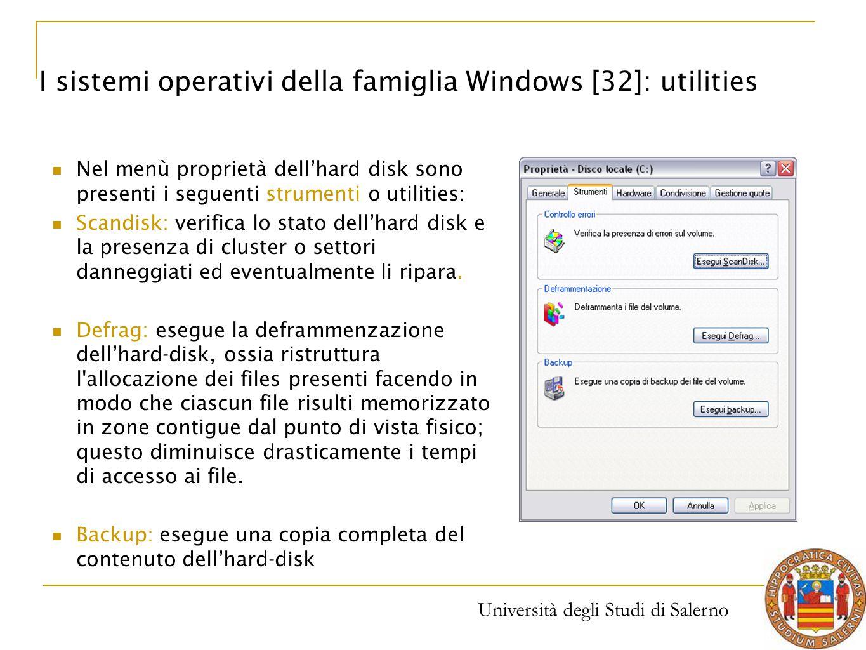 I sistemi operativi della famiglia Windows [32]: utilities